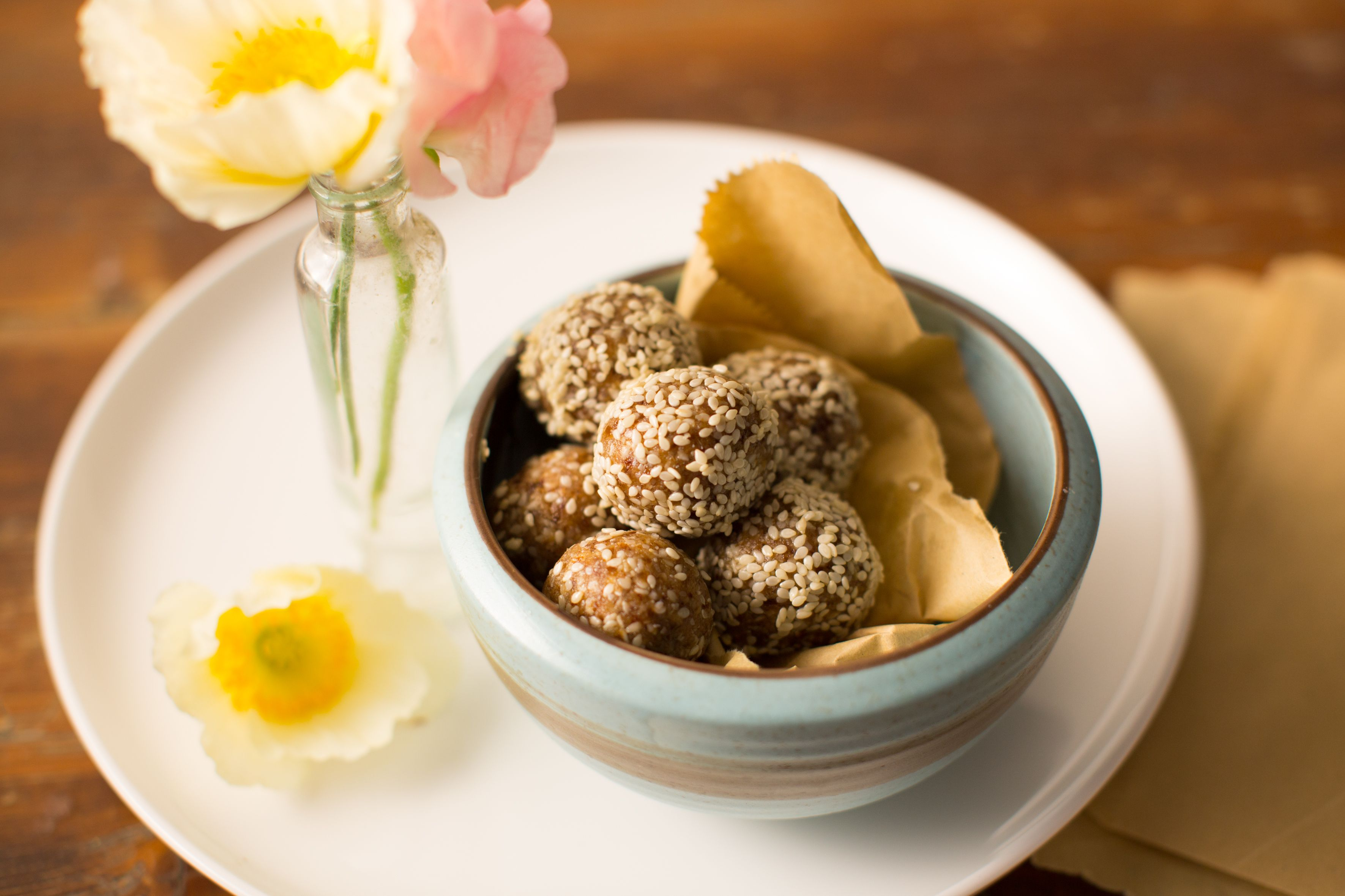 Hero Image Cinnamon Tahini Coconut Bliss Balls